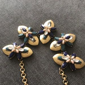 J. Crew Gold Floral Statement Necklace